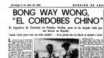 Bong Way Wong, el torero chino que quiso triunfar en España hace 50 años. Heraldo informó sobre él el 3 de julio de 1966.