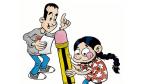 Caricatura de Roberto Malo y Xcar Malavida para la exposición, '¿Cómo se hace un cómic? El proceso de creación de Supermala', en La Pantera Rossa, en Zaragoza.