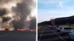 Los CDR queman neumáticos en la carretera A-1240 en Alcampell y causan un atasco kilométrico