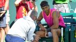 Mar 15, 2019; Indian Wells, CA, USA; Rafael Nadal (ESP) receives medical attention on his right knee during his quarter final match against Karen Khachanov (not pictured) in the BNP Paribas Open at the Indian Wells Tennis Garden. Mandatory Credit: Jayne Kamin-Oncea-USA TODAY Sports [[[REUTERS VOCENTO]]] TENNIS/