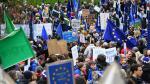 Manifestantes a favor del brexit, este sábado, en Londres.