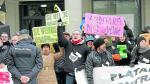 Los trabajadores de las contratas de la térmica, en una de sus últimas protestas en Zaragoza