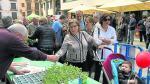 Reparto de planta de tomate rosa en la X Jornada del Plantero en Barbastro, el pasado 1 de mayo.