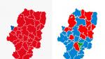 Comparativa de los resultados de las elecciones municipales por comarcas 2019 - 2015