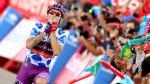 Madrazo celebrando el triunfo de etapa en Javalambre
