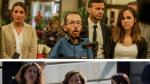 Los equipos negociadores de Unidas Podemos (arriba) y PSOE (abajo)