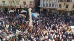 La plaza del Torico de Teruel durante el paro de cinco minutos este viernes