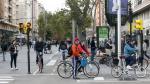 'Atasco' de bicicletas en el cruce de Gran Vía con Goya.