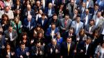 """Torra junto a los alcaldes de municipios que han aprobado mociones de apoyo a los """"presos políticos y exiliados"""" y de rechazo a la sentencia del 'procés'."""