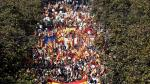 Supporters of Spanish unity attend a demonstration to call for co-existence in Catalonia and an end to separatism, in Barcelona, Spain, October 27, 2019. REUTERS/Sergio Perez [[[REUTERS VOCENTO]]] SPAIN-POLITICS/CATALONIA-PROTEST-UNITY