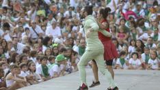 Actuación infantil en el parque durante las fiestas de San Lorenzo.
