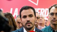 El coordinador federal de IU, en declaraciones a los medios de comunicación hace unos días en Sevilla.