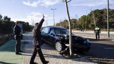 Un coche fúnebre arrolla 6 árboles en Puerto Venecia
