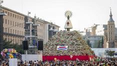 La plaza del Pilar, durante la Ofrenda de Flores del año 2017.