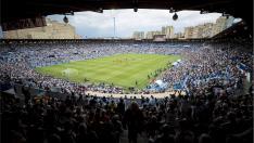 La Romareda, prácticamente abarrotada de público, en el último partido del año pasado, el Real Zaragoza-Numancia de la Promoción de ascenso a Primera, el 9 de junio de 2018.