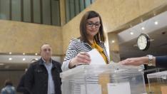 Imagen de un colegio electoral de Teruel en las votaciones del 28-A