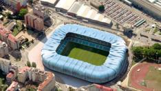 Recreación aérea del estadio de Balaídos a su conclusión