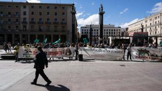 Protesta de los trabajadores de Parques y Jardines frente al Ayuntamiento