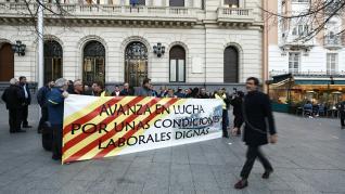Manifestación trabajadores bus