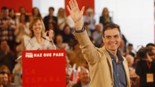 Pedro Sánchez ha dado un mitin este domingo en el Palacio de Congresos de la Expo