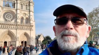 El zaragozano José Antonio Gracia, en la catedral de Notre Dame minutos antes del incendio