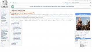 Spoiler de Juego de Tronos en Wikipedia.