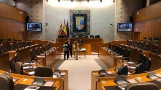 La cámara de las Cortes de Aragón, antes de arrancar la sesión constitutiva de la X legislatura