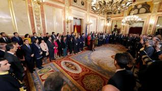 La presidenta del Congreso. Meritxell Battet, durante su intervención esta mañana al Congreso de los Diputados en la sesión solemne de las Cortes con motivo de la celebración del 41 aniversario de la Constitución.