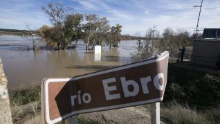 Crecida del río Ebro a su paso por Novillas