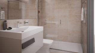 Los baños están hechos con piezas de Porcelanosa.