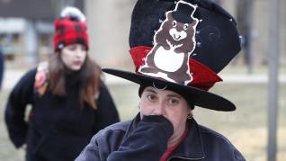Todo preparado para el Día de la Marmota en Punxsutawney, Pensilvania (Estados Unidos).