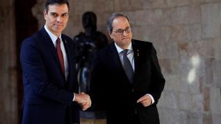 Pedro Sánchez y Quim Torra en el Palau de la Generalitat de Barcelona este jueves.