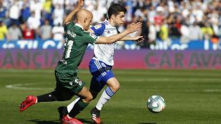 Partido entre el Real Zaragoza y el Deportivo de La Coruña.