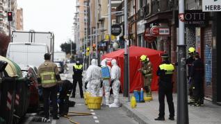 Despliegue del protocolo por coronavirus en el centro de Zaragoza