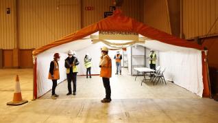 Comienza el montaje del hospital de campaña en la Feria de Muestras de Zaragoza