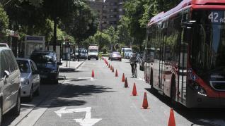 Primeros trabajos que se están llevando a cabo en La Almozara para el carril bici