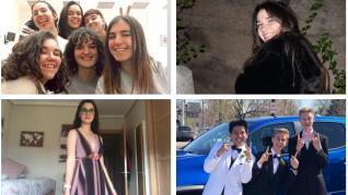 Andrea Royo, con sus compañeras de clase. A la derecha, Isabel Rajadel. Debajo, Lucía, con su vestido y sin graduación. Abajo a la derecha, Eric celebrando su fiesta de promoción en primero de Bachillerato en Estados Unidos.