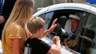 NASA astronaut Douglas Hurley's wife Karen Nyberg and their son say goodbye before the launch of a SpaceX Falcon 9 rocket and Crew Dragon spacecraft at the Kennedy Space Center, in Cape Canaveral