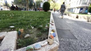 Camino de la felicidad en el centro de Zaragoza