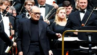 FILE PHOTO: Italian composer Ennio Morricone arrives to conduct a concert in Berlin