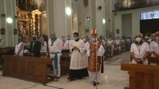 Misa en honor a San Lorenzo en la catedral de Huesca en el día grande de las 'no fiestas'