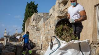 Limpieza manual de la muralla romana de Zaragoza