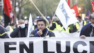 Manifestación de trabajadores de Alumalsa, este sábado en Zaragoza.