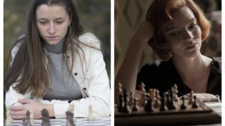 La joven talento del ajedrez aragonés, María Eizaguerri (izquierda) y el personaje protagonista de 'Gambito de Dama', Beth Harmon.