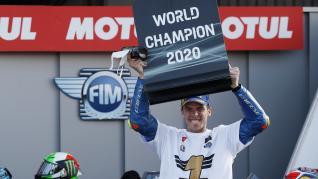 Joan Mir, nuevo campeón del mundo del moto GP, en el circuito de Cheste (Valencia).