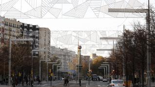 Instalación de las luces de Navidad en Zaragoza