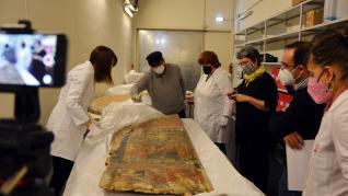 Tabla del retablo de Montanuy entregada al Museo de Barbastro-Monzón.