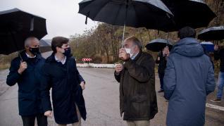 Celma y Suárez visitan las obras de Mularroya junto a los regantes