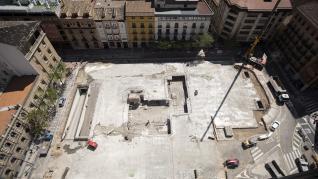 Avanzan las obras en la plaza de Salamero de Zaragoza