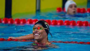 Teresa Perales, sonriente en la piscina de Funchal.